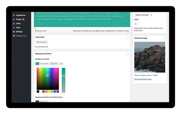 page specific color controls