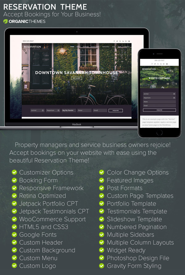 wordpress subcategory template - reservation wordpress theme themes templates