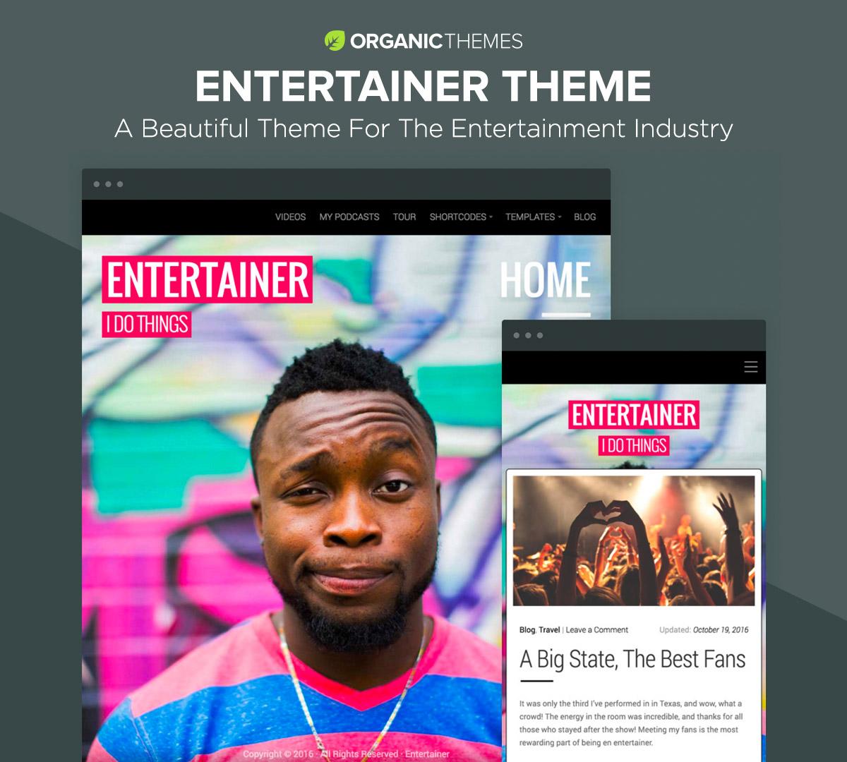 Entertainer - Comedians, Actors, Musicians, Professionals, Responsive WordPress Theme