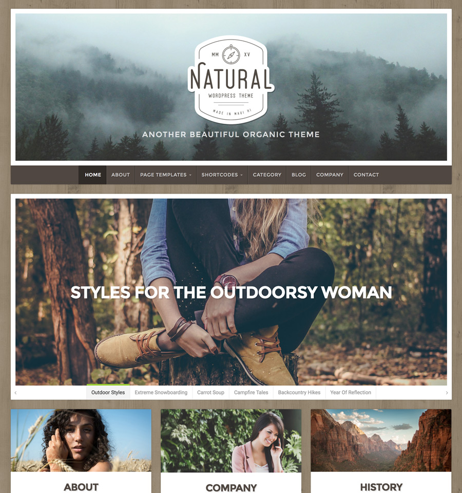 Natural Theme - WordPress Theme for Nature Businesses