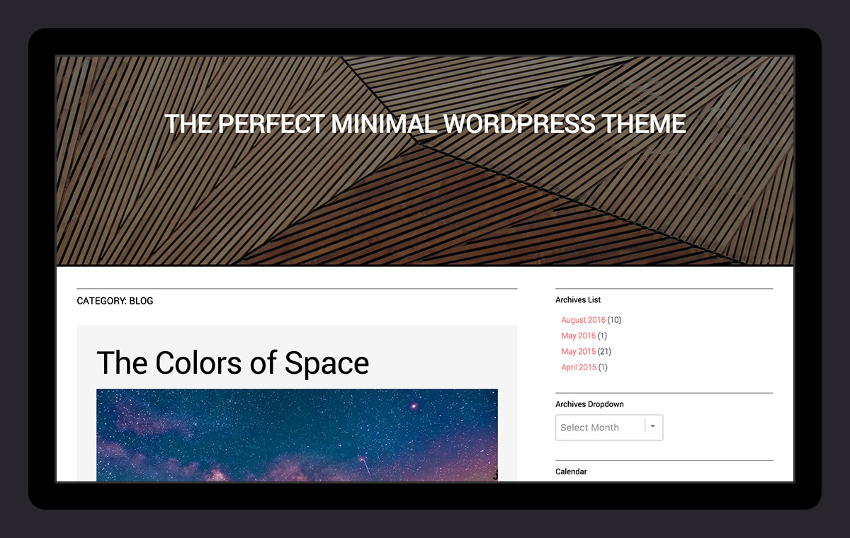 All WordPress core features such as the Custom Header, Site Logo, Favicon and more!