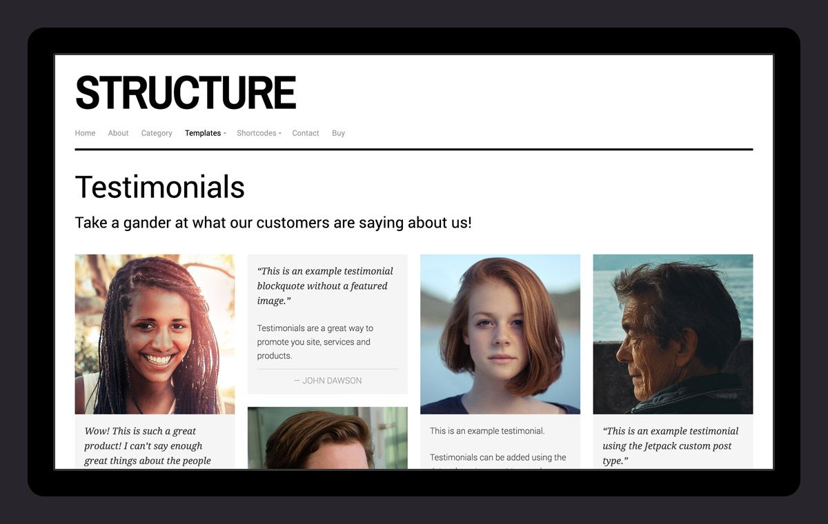 Feature testimonials on your site using the page template!