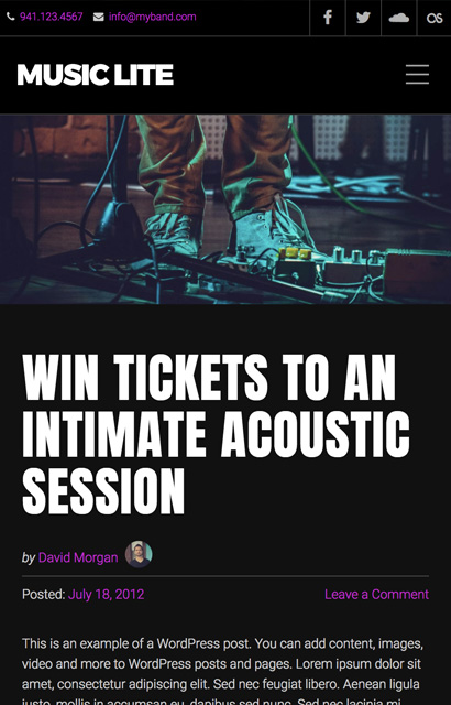 Music Lite - A Free WordPress Music Theme