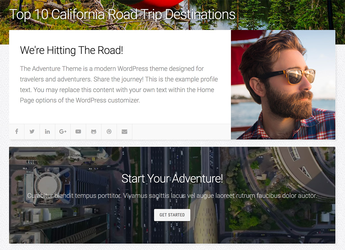 Adventure Theme Home Page Template