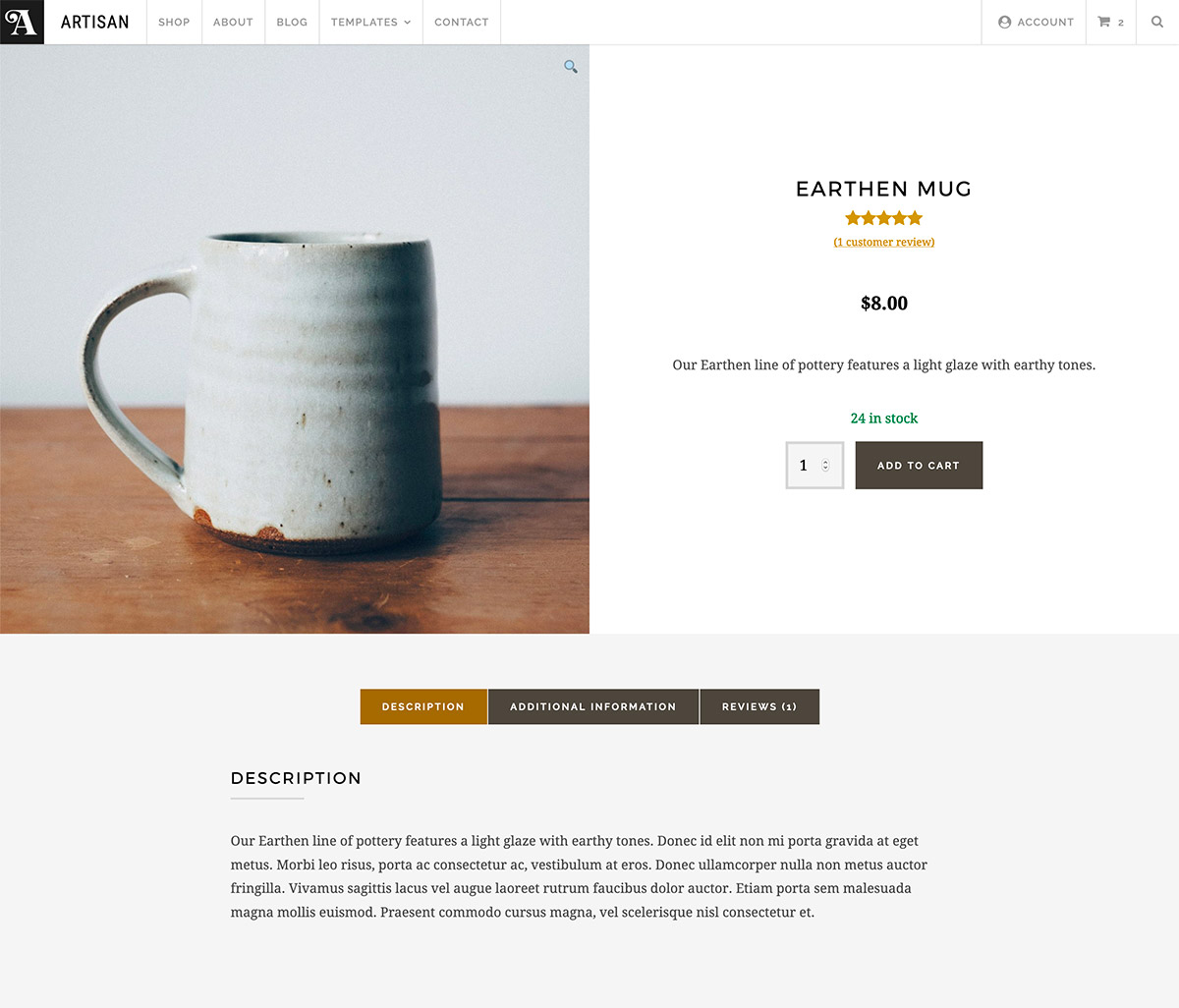 Artisan Product Page