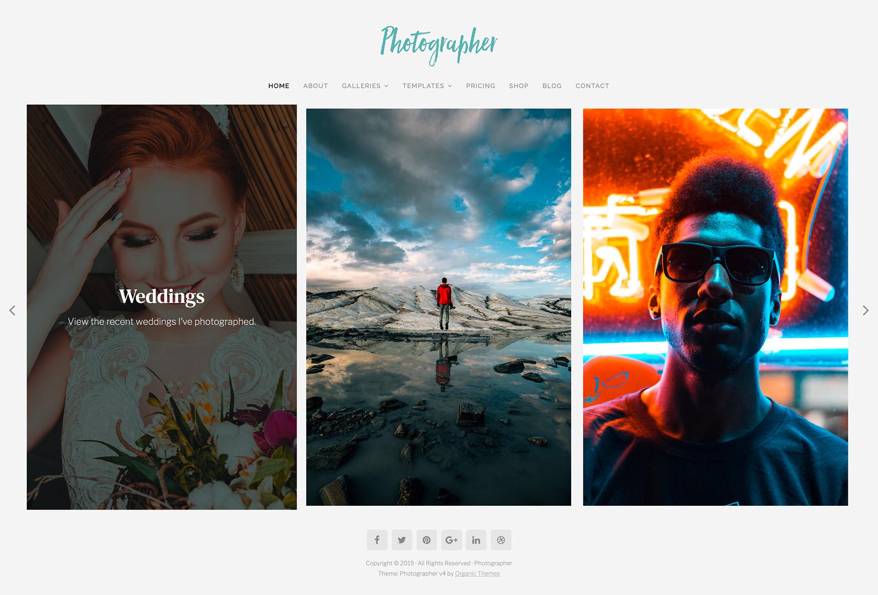 Photographer Theme Home Slideshow