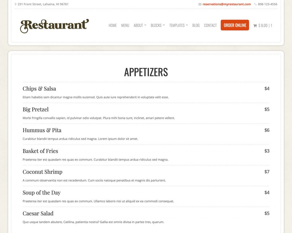 Restaurant Theme Menu Post Type