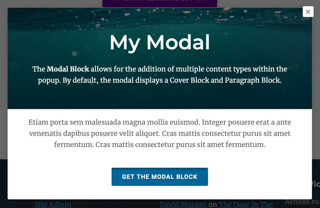 WordPress Modal Popup Block